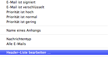 Screenshot Headerliste bearbeiten in Apple Mail