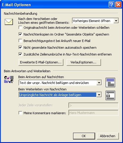 Weiterleitungen in Outlook 2000