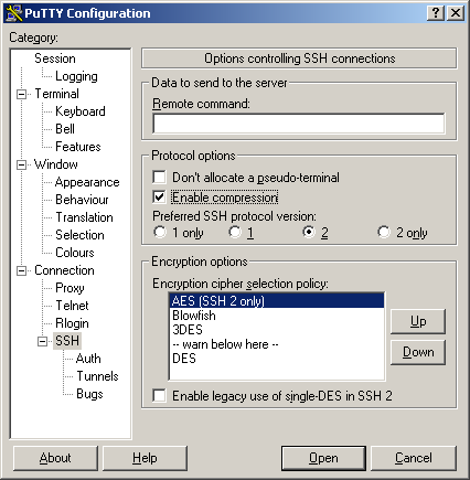 PuTTY Konfiguration: SSH